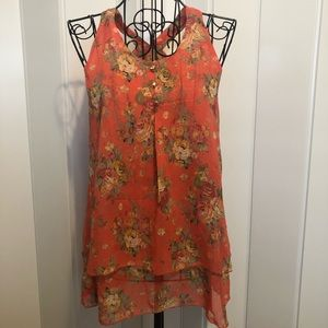 Tops - Floral Small Coral Sleeveless Tunic